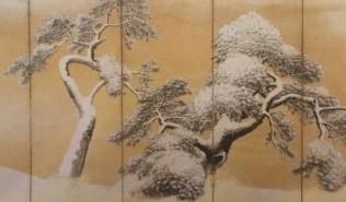 雪松図屏風(円山応挙筆)[三井記念美術館/東京]