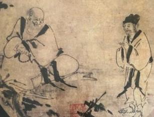 禅機図断簡(布袋蔣摩訶問答図)因陀羅筆[根津美術館]