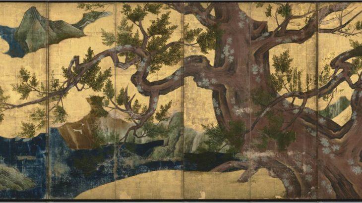 檜図屏風 狩野永徳[東京国立博物館]